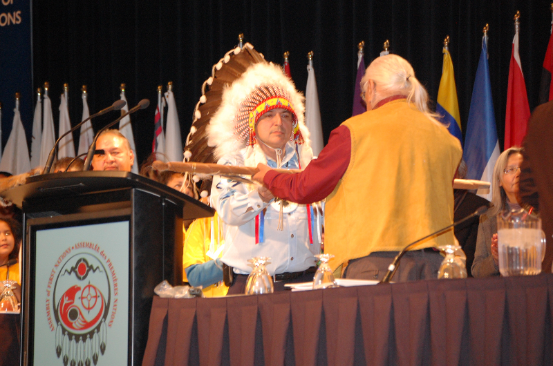 Perry Bellegarde receives stick