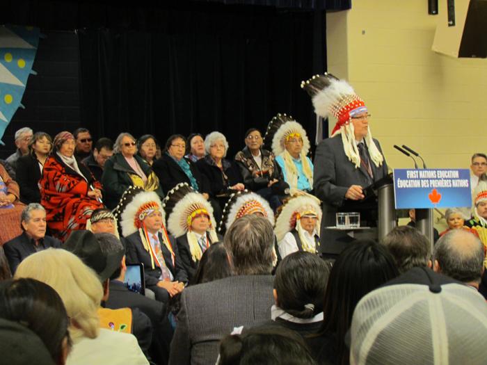 Chief Charles Weaselhead speaks at Kainai