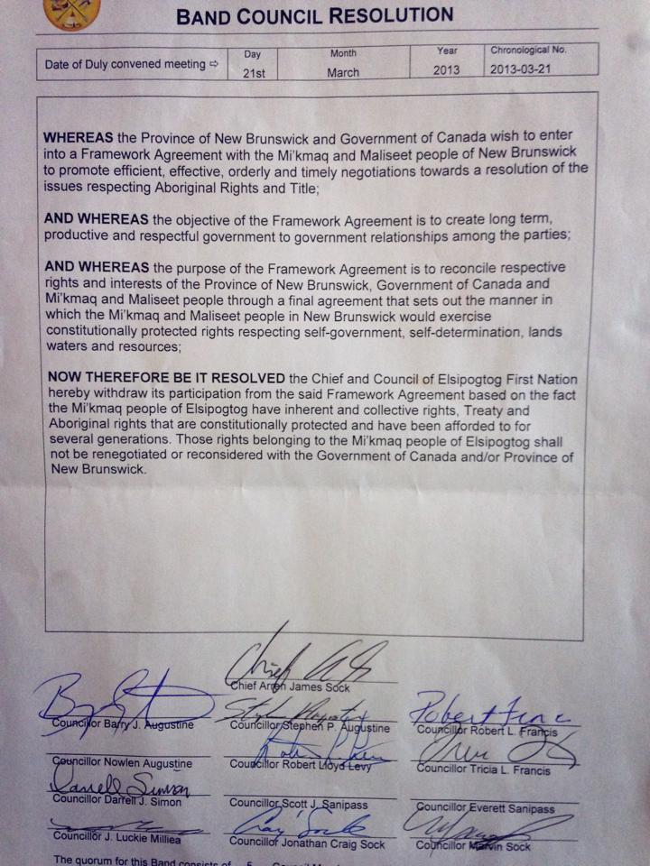 Elsipogtog First Nation BCR opting out of framework agreement