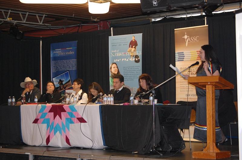 Organizer Shalene Jobin (podium) at U of A Idle No More panel