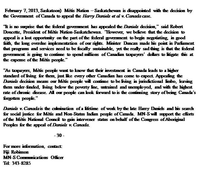 MN-S news release on Daniels decion appeal