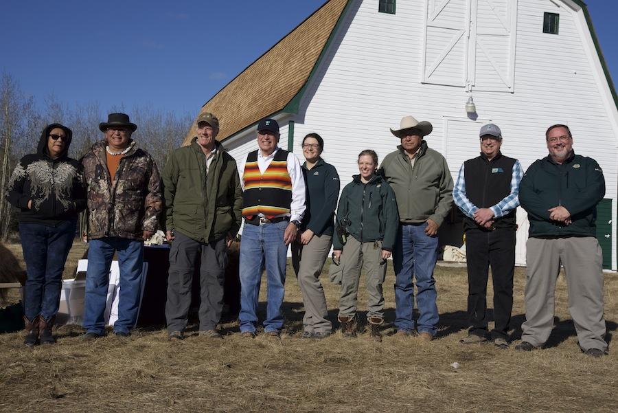 Blackfeet delegation with Parks Canada staff at Elk Island National Park.