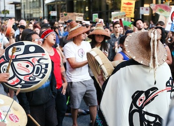 Protesting Northern Gateway in Vancouver in 2014 (file photo)
