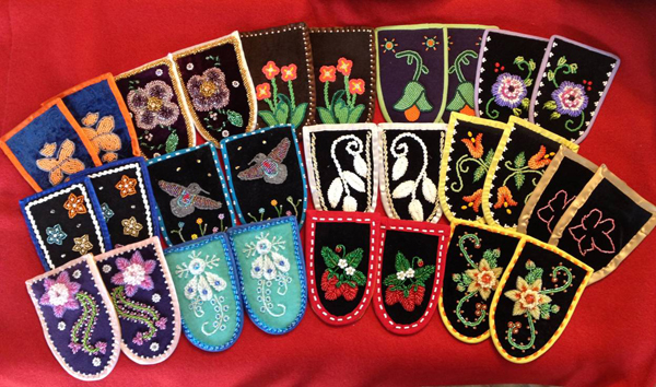 Beaded moccasin vamps contributed by beaders from the Cattaraugus Reservation