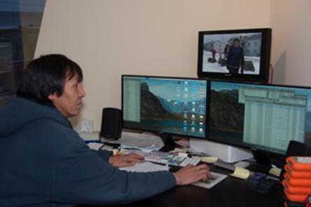 Jim Papatsie in the new control room at the Nunavut Media Arts Centre