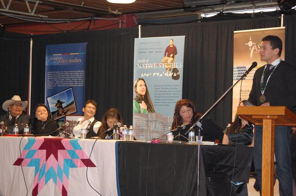 U of A Native Studies Panel - Wab Kinew at podium