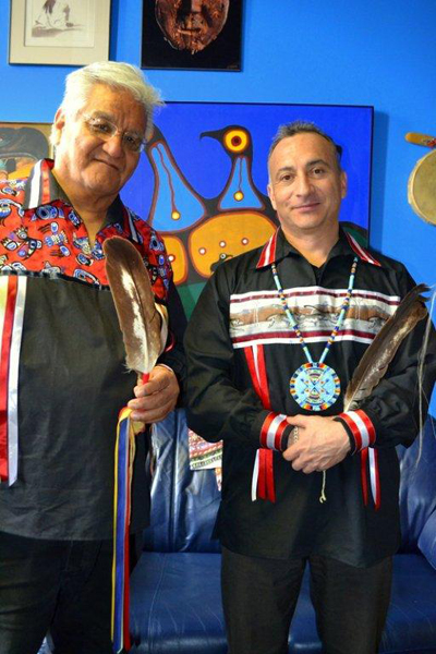 Elder Terry McKay and Program Coordinator Mark Marsolais who are with the Odawa