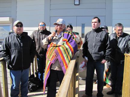 Piikani Chief Reg Crowshoe speaks at the re-dedication celebration for the Buffa