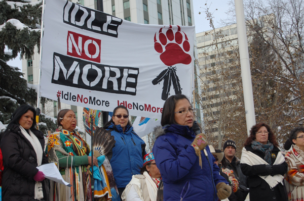 Sylvia McAdam Idle No More Rally Edmonton Dec. 10