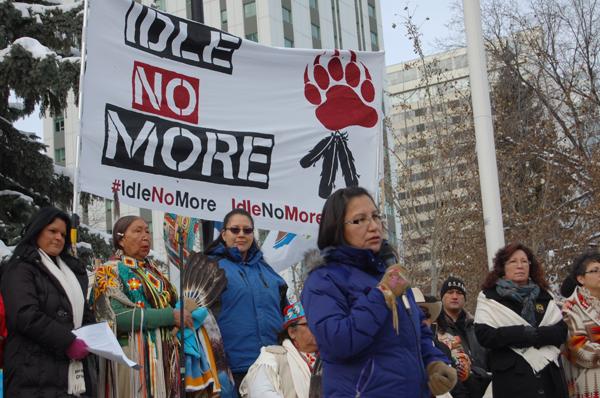 Sylvia McAdam at Idle No More rally in Edmonton