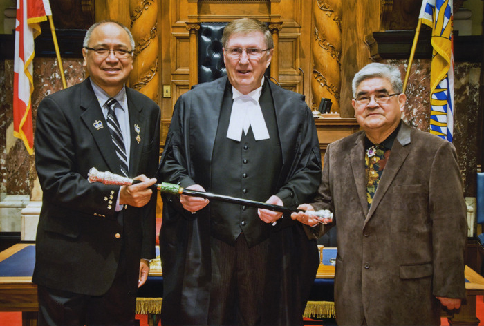 Clifford Bolton (right) presents a a new version of the B.C. Lieutenant-Governor