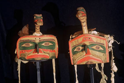 These two duck headdresses are among the potlatch collection on display. The the