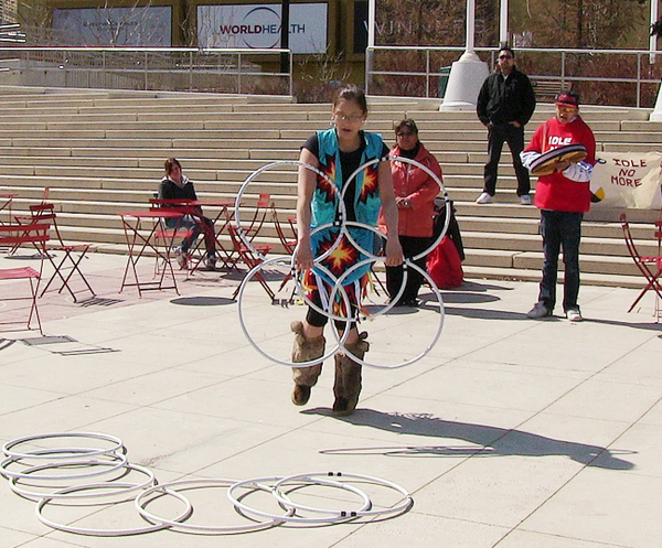 Kelsey Wolver performed a hoop dance in Churchill Square