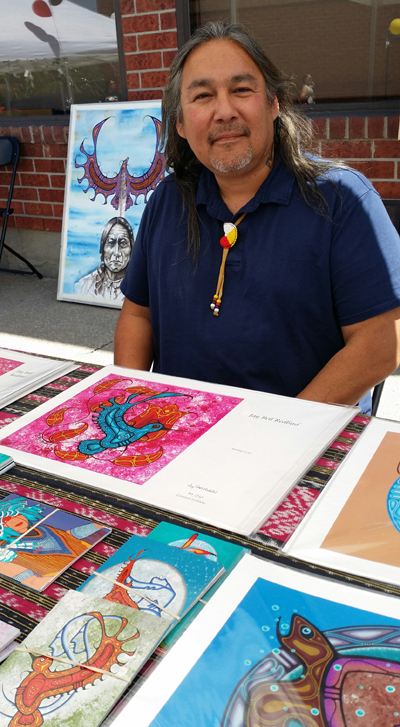 Artist Jay Bell Redbird at The Gathering in Mississauga
