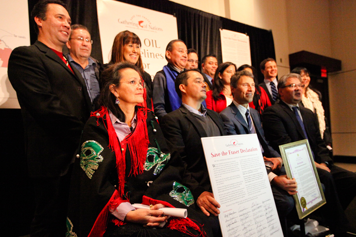 Several of the more than 130 signatories of the Save the Fraser Declaration