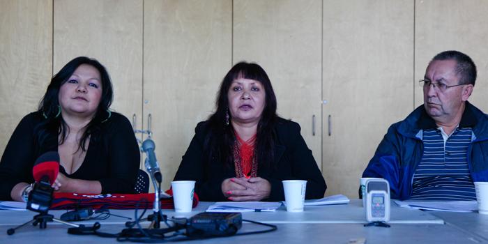 Members of the Yinka Dene Alliance address media in October 2013