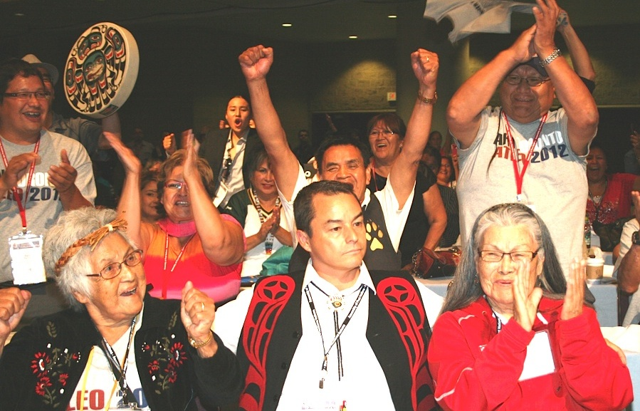 Shawn Atleo's team erupts upon hearing the election results
