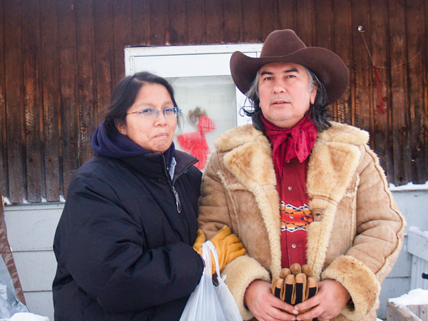 Judy da Silva, with her husband Bepgogoti Kaiapo, outside their home in Grassy N