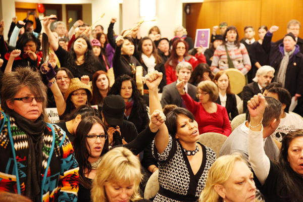 Hundreds of women from the Downtown Eastside flooded into press conference relea