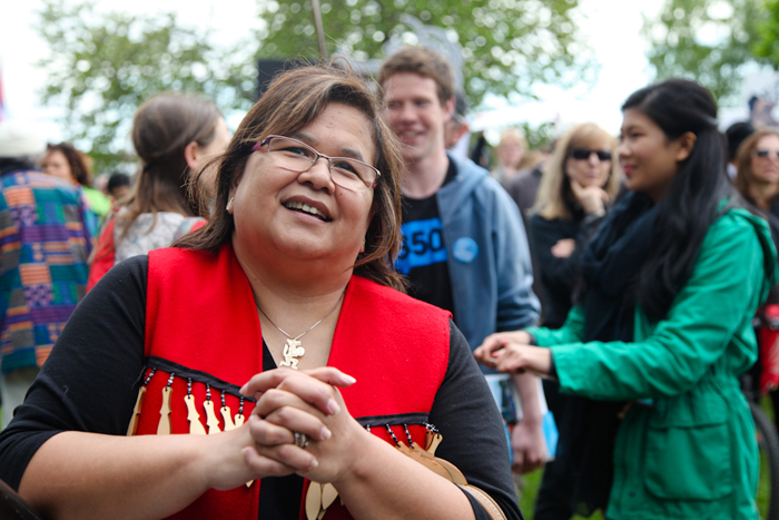 Carleen Thomas, project manager with Tsleil-Waututh Sacred Trust, at rally