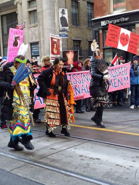 Jingle Dress Dancers in Toronto, Valentine's Day Ceremony for MMIW.