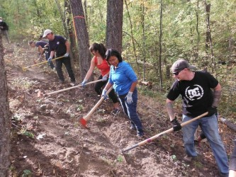 Helping build and maintain the trails