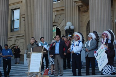 National Chief Shawn Atleo (second from left) with Grand Chiefs Cameron Alexis (