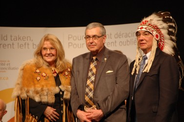 Westaskiwin Mayor and former teacher Bill Elliot (centre) was inducted as an hon
