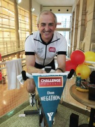 Don Patterson as he starts his eight hour spin in support of YMCA youth programs